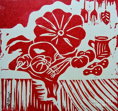 Still Life With Veg And Utensils Red On White Poster by Caroline Street