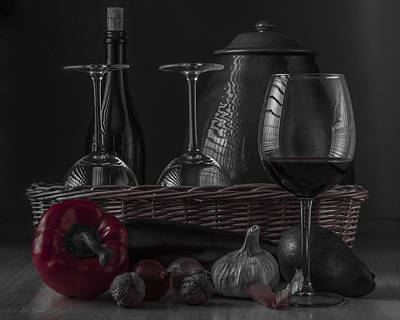 Still Life With Vegetables And Glass Of Wine With Red Accent Poster by Julis Simo