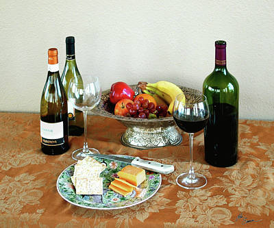 Still Life With Wine And Fruit Cheese Picture Interior Design Decor Poster by John Samsen