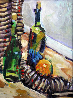 Still Life With Wine Bottles Poster by Piotr Antonow