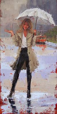 Poster featuring the painting Still Raining by Laura Lee Zanghetti
