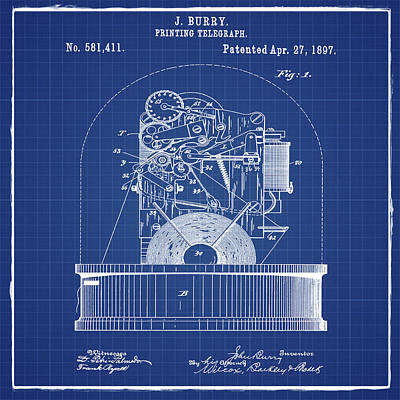 Stock Ticker Patent 1897 Blue Print Poster