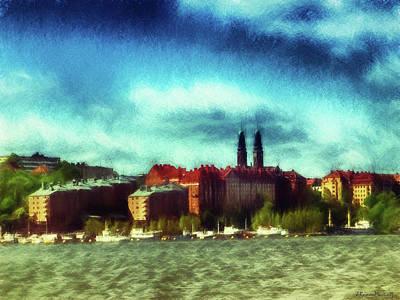 Stockholm Skyline Drawing Poster