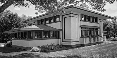 Stockman House - Frank Lloyd Wright - Black And White Poster