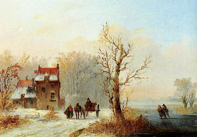 Stok Jacobus Van Der A Winter Landscape With Skaters On A Frozen Waterway And A Horse Drawn Cart Poster