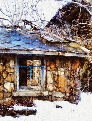 Stone Barn Old Blue Window Poster