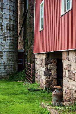 Stone Barn With Milk Can Poster