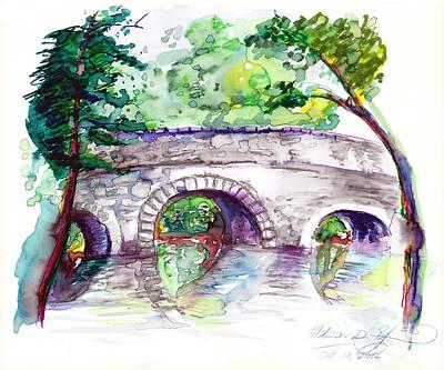 Stone Bridge In Early Autumn Poster