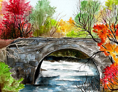 Stone Bridge In Maine  Poster