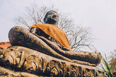 Stone Carved Sitting Buddha Statue Wat Temple Complex In Old Siam Kingdom Ayutthaya Thailand Poster