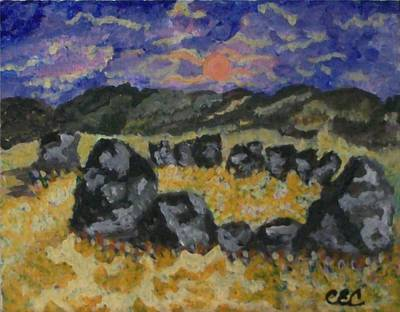Poster featuring the painting Stone Circle by Carolyn Cable