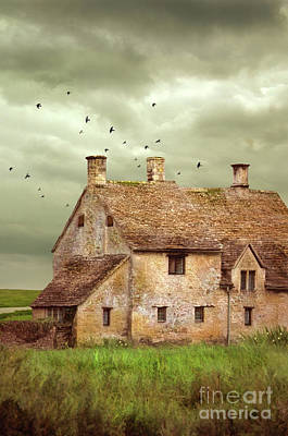 Stone Cottage And Stormy Sky Poster by Jill Battaglia