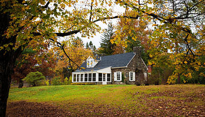 Stone Cottage In The Fall Poster by Kenneth Cole