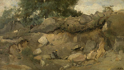 Stone Mine Of Chaise-marie In Fontainebleau Poster by Jean-Baptiste Camille Corot
