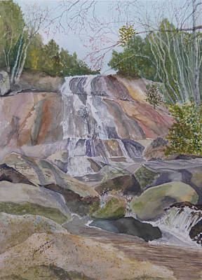 Poster featuring the painting Stone Mountain Falls April 2013 by Joel Deutsch