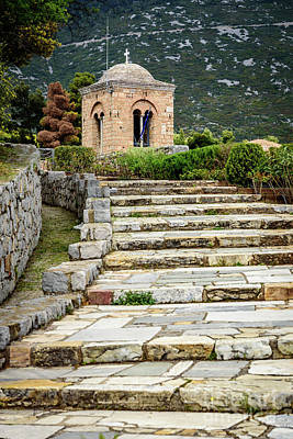 Stone Stair Walkway At Moni Osios Loukas In Distomo, Greece Poster