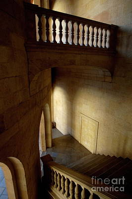 Stone Stairwell Inside The Historic Palace Of Charles V At Alhambra Poster by Sami Sarkis