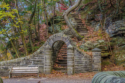 Stone Steps At Rex Avenue In Autumn Poster by Bill Cannon