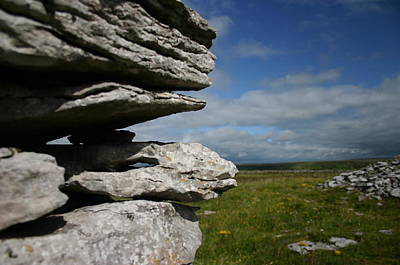 Stone Wall In The Burren Poster by Martina Fagan