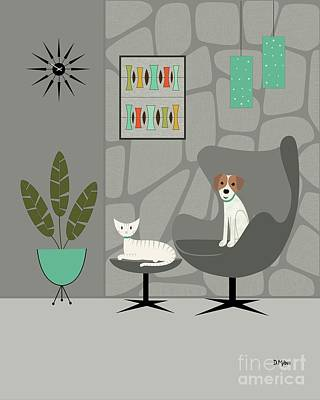 Stone Wall With Dog And Cat Poster
