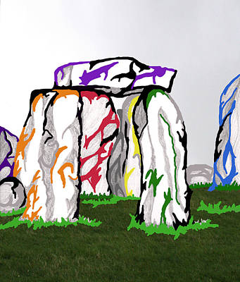 Poster featuring the mixed media Stonehenge Chakras by Mary Mikawoz