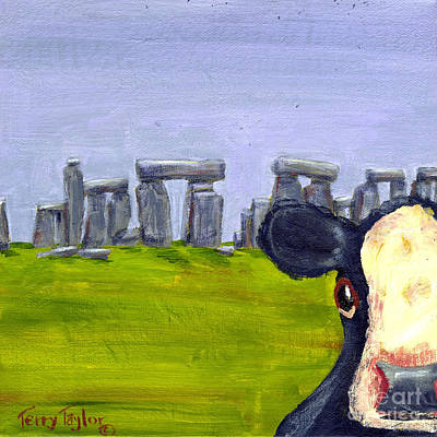 Poster featuring the painting Stonehenge Cow by Terry Taylor