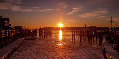 Poster featuring the photograph Stonington Harbor Sunset On Ice by Kirkodd Photography Of New England