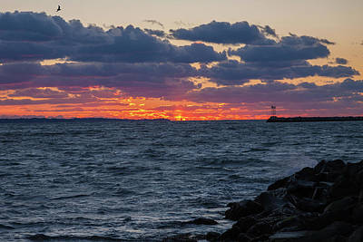Poster featuring the photograph Stonington Point Sunset by Kirkodd Photography Of New England