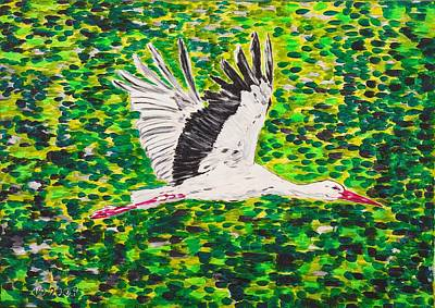 Stork In Flight Poster by Valerie Ornstein