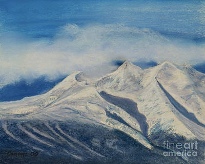 Poster featuring the painting Storm Clouds Over Winter Mountain Blues by Stanza Widen