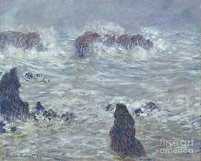 Storm Off The Coast Of Belle Ile Poster by Claude Monet