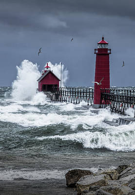 Storm On Lake Michigan By The Grand Haven Lighthouse With Flying Gulls Poster by Randall Nyhof