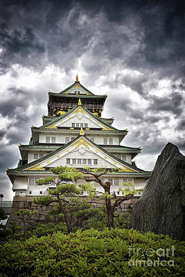 Storm Over Osaka Castle Poster by Jane Rix