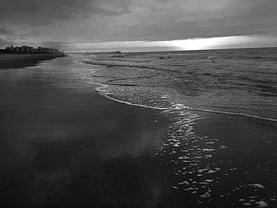 Storm Over Sunrise At Myrtle Beach In Black And White Poster