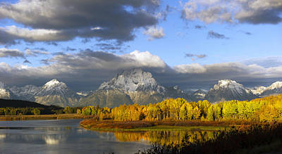 Storm Over The Ox Bow And Mt Moran Poster by Gary Langley