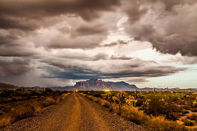 Storm Rolling Into The Superstition Mountains Poster by Chuck Brown