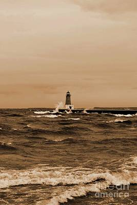 Storm Sandy Effects Menominee Lighthouse Sepia Poster