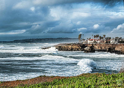 Storm Wave At Sunset Cliffs Poster by Daniel Hebard