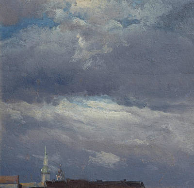 Stormclouds Over The Castle Tower In Dresden Poster by Johan Christian Dahl