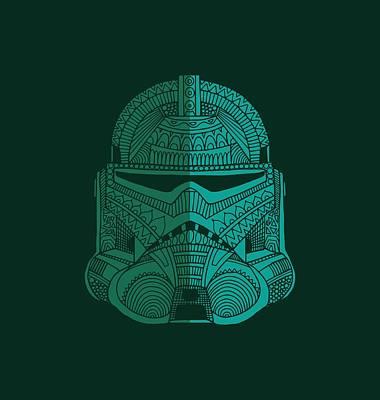 Stormtrooper Helmet - Star Wars Art - Blue Green Poster