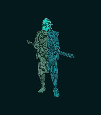 Stormtrooper Samurai - Star Wars Art - Blue, Navy, Teal Poster