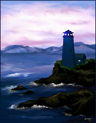 Poster featuring the painting Stormy Blue Night by Susan Kinney