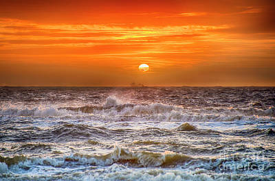 Stormy Dutch Sunset Poster by Alex Hiemstra