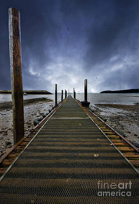 Stormy Jetty Poster by Meirion Matthias