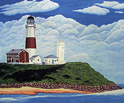Poster featuring the painting Stormy Montauk Point Lighthouse by Frederic Kohli