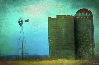 Stormy Old Silos And Windmill Poster