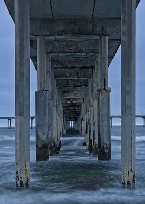 Stormy Pier In Ocean Beach Poster