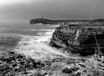 Poster featuring the photograph stormy sea - Slow waves in a rocky coast black and white photo by pedro cardona by Pedro Cardona
