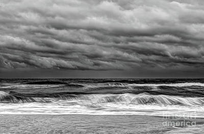 Poster featuring the photograph Stormy Skies Turbulent Ocean Outer Banks Bw by Dan Carmichael