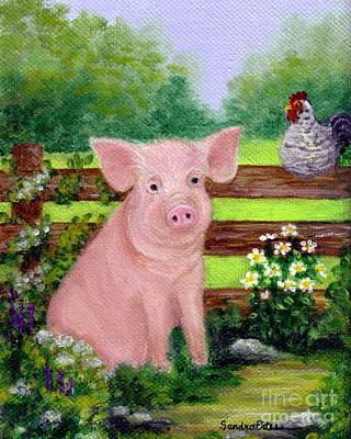 Poster featuring the painting Storybook Pig by Sandra Estes